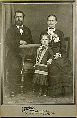 Antique Photo Young Girl with Parents Portrait (Image1)