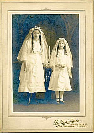 Antique Photo 2 Girls Communion Portrait (Image1)