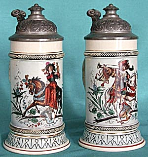 Vintage Pair Of Lady & Gentleman Stoneware Steins