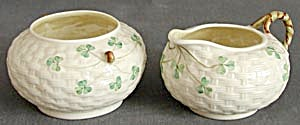 Irish Belleek Basketweave Shamrock Sugar & Creamer (Image1)