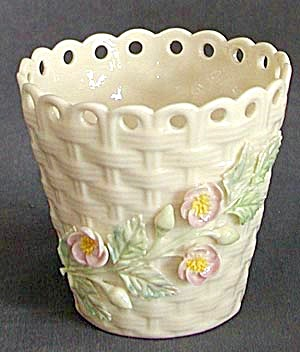 Irish Belleek Basket Spill Vase (Image1)
