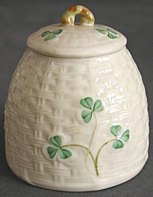 Irish Belleek Shamrock Marmalade Cup Jam Pot (Image1)