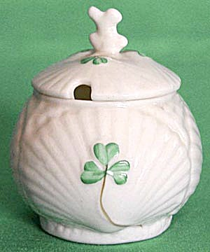 Vintage Irish Belleek Harp & Shamrock Mustard Pot (Image1)