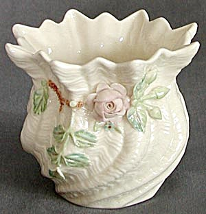 Vintage Irish Belleek Applied Pink Rose Spill Vase (Image1)