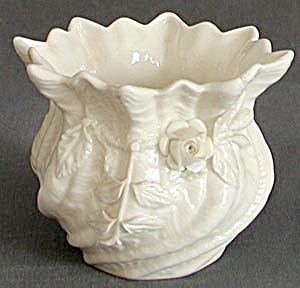 3rd Mark Irish Belleek Applied White Rose Spill Vase (Image1)