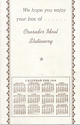 Crusader Ideal Stationary Calendar 1944 Blotter (Image1)