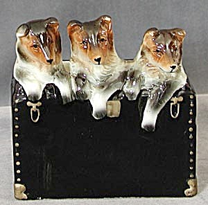 Vintage Collies In A Trunk Planter
