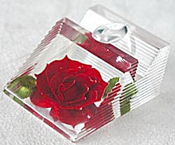 Vintage Lucite Pen Holder with Red Rose (Image1)
