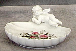 Vintage Lefton Shell Dish With Angel