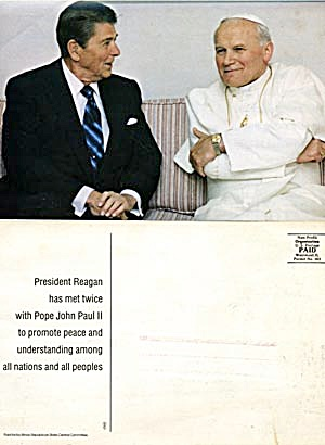 Post Card Of President Reagan & Pope John Paul Ii