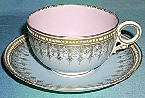Antique Worcester Mid 1800's Jeweled Large Cup & Saucer (Image1)
