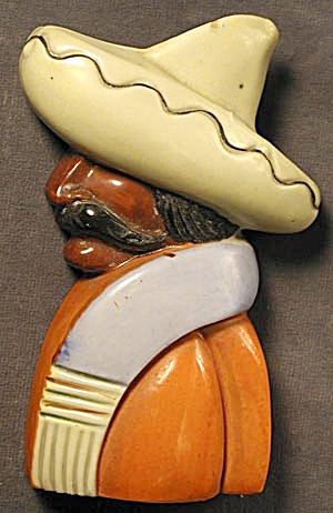 Vintage 1930's Mexican Man Wallpocket (Image1)