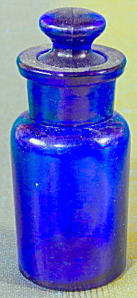 Vintage Cobalt Blue Bottle With Glass Stopper