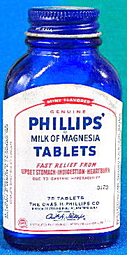 Vintage Phillips Milk Of Magnesia Tablets Blue Cobalt