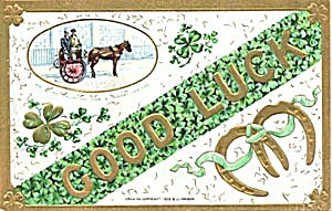 Vintage St. Patricks Day An Irish Car & Jarvey Postcard (Image1)