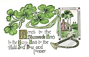 Vintage St. Patricks Day Cottage & Harp Postcard (Image1)
