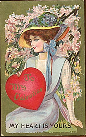 Vintage Valentine Postcard: Lady (Image1)