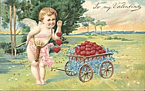 Cupid Pulling A Cart Of Hearts & Forget-Me-Nots (Image1)