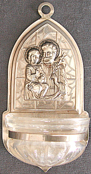 Vintage Holy Water Font For Home Jesus, Joseph & Mary