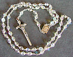 Crystal Aurora Borealis Czech Rosary with Pope John (Image1)