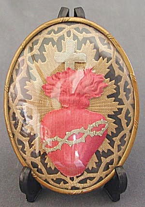 Antique 3 Dimensional Fabric Sacred Heart Picture (Image1)