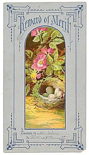 Victorian Reward of Merit Bird Nest with Blue Eggs (Image1)