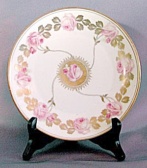 Vintage Nouveau Style RS Germany Plate with Pink Roses (Image1)