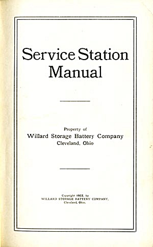 Willard Storage Battery Service Station Manual (Image1)