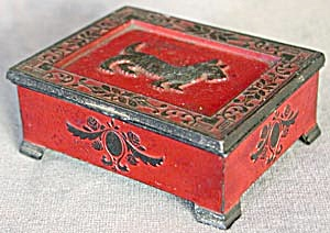 Vintage Red Metal Scottie Box (Image1)