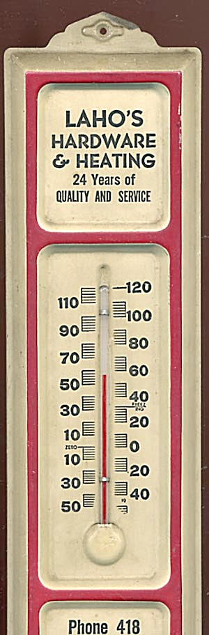 Vintage Advertising Thermometer Laho's