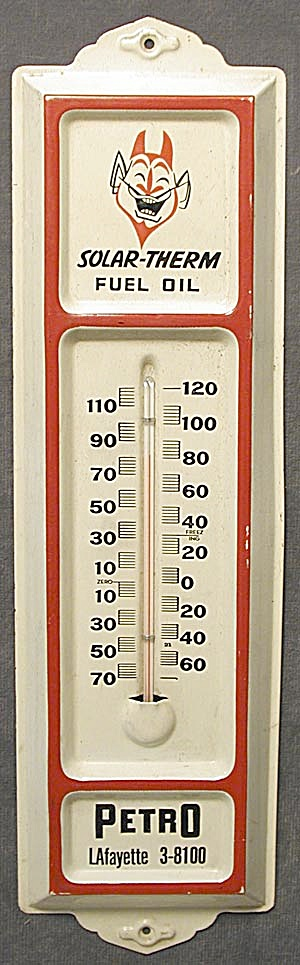 Vintage Devil Solar-therm Fuel Advertising Thermometer