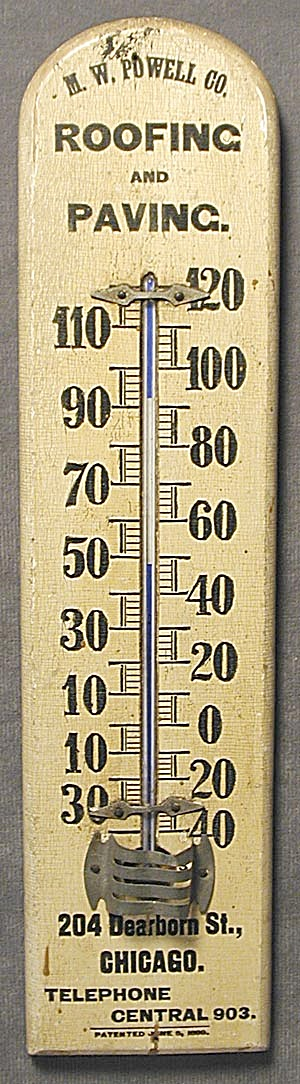 Vintage Roofing & Paving Advertising Thermometer