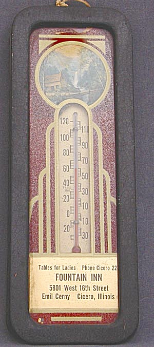 Vintage Art Deco Painted Advertising Thermometer