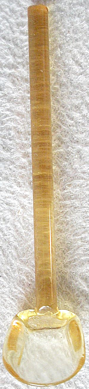 Vintage Amber Glass Salt Spoon (Image1)