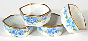 Vintage Stoffers For-get-me-not Salt Dips Set Of 4