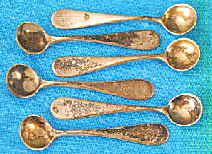 Antique Sterling Salt Spoons Set Of 6