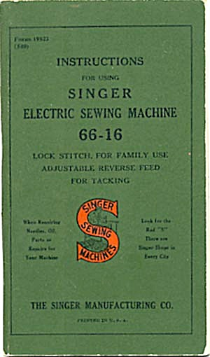 Vintage Singer Sewing Machine Manual No. (Image1)