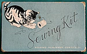 Vintage Sewing Kit Box with Kitten (Image1)