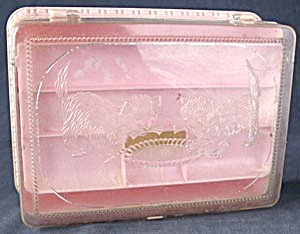 Vintage Kitten Pink Plastic Sewing/Jewelry Box (Image1)