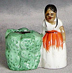 Vintage Mexican Maiden Next To A Cactus Pin Cushion