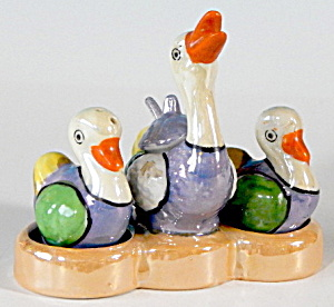 Lusterware Bird Salt And Pepper And Condiment In Tray