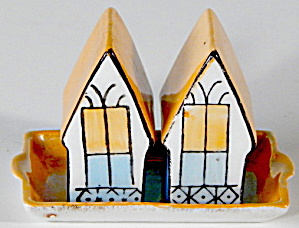 Vintage Porcelain Lusterware Houses & Tray