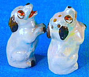 Lusterware Blue Spaniel Salt And Pepper