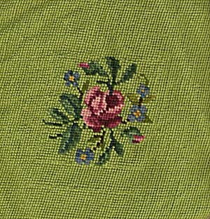 Vintge Needle Point Green with Rose in Center Square (Image1)