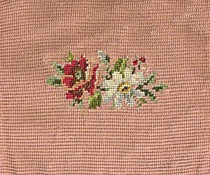 Vintage Needle Point Square Pink with Flowers (Image1)