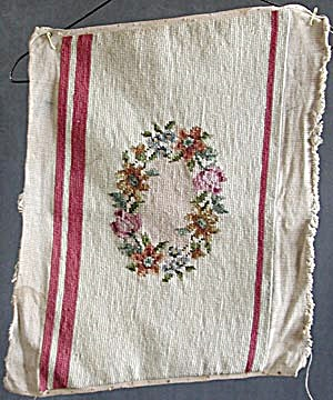 Vintage Needle Point Cream Rectangle / Ring of Flowers (Image1)