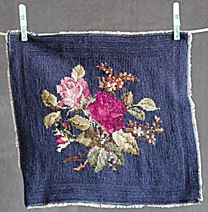Vintage Needle Point Square Navy with Roses (Image1)