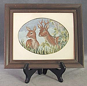 Vintage Petit Point Picture of Doe and Buck (Image1)