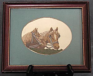 Vintage Petit Point Picture of 2 Horses (Image1)