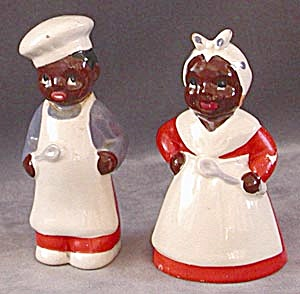 Vintage Black Mammy And Chef Salt & Peppers